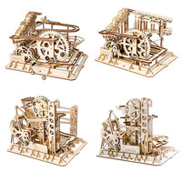 Robotime Game DIY Waterwheel Coaster Wooden Model Building Kits Assembly 3D Jigsaw Puzzle Educational Gift for Children Adult