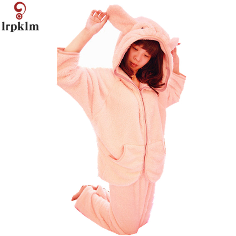Winter Coral Fleece Female Hooded Pajamas Pants Set 2018 Winter New Warm Pajamas Thicken Women Cute Pajamas Home Wear JW250