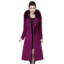 Plus size 4XL Middle aged Womens Woolen Coat Winter 2019 New Imitation Fox Fur Collar Wool Overcoat Long Slim Jacket