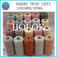 300pcs/lot Colored 100% Cotton Baker twine 110 yards/spool 54 kinds color choose, color cotton string, cotton cord