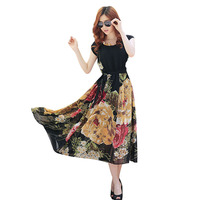 Summer Lady Floral Print Maxi Dresses Women Casual Loose Chiffon O-neck Long Dress Vestido