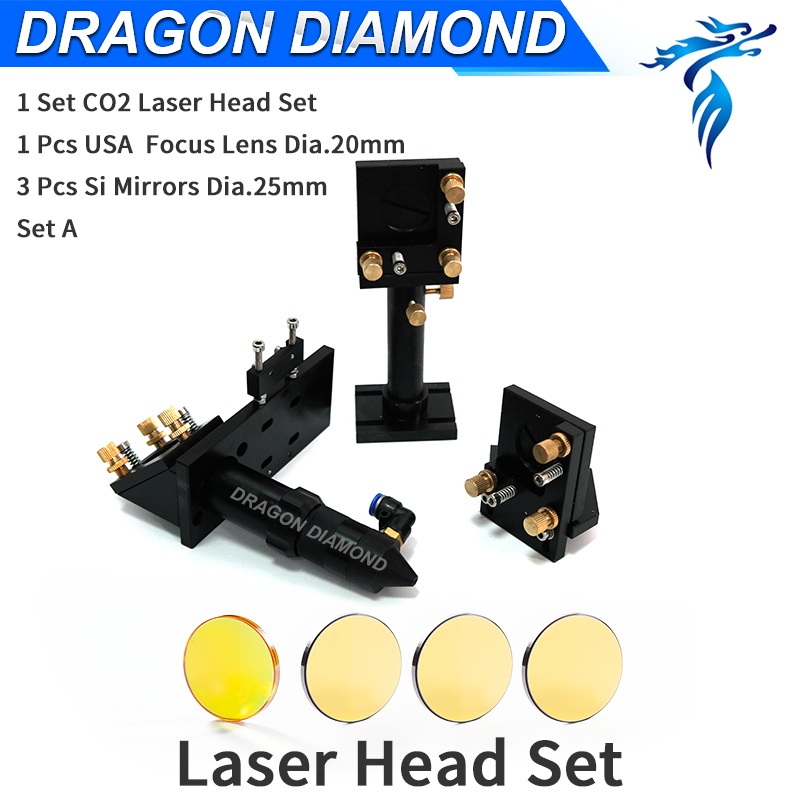 Mirror mount CO2 Laser Head Set A 1pcs laser Lens Dia 20mm FL 50.8 63.5 101.6mm + 3pcs Mirror Dia 25mm for CO2 Laser machine aluminum co2 laser head set dia 20mm znse focal focus lens fl 50 8mm integrative mount dia 20mm si reflective mirror