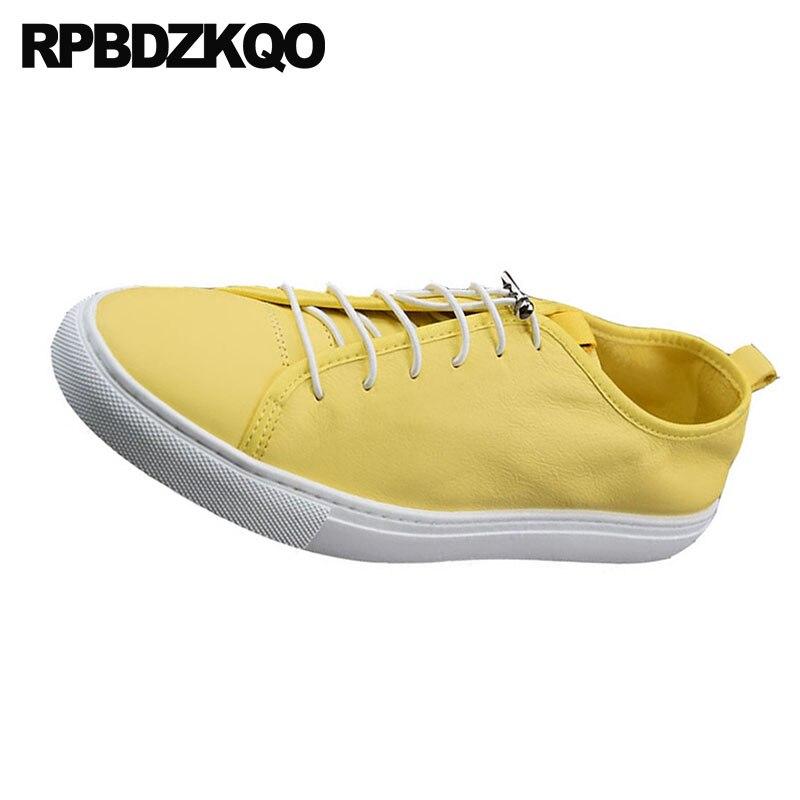 Primavera Qualidade Couro Leve Branco Casual Amarelas Tênis Homens Luxo Alta Real amarelo Marca Sapatos Up Lace Flats Genuíno Formadores De Da Skate wzTPqxF
