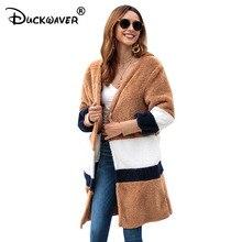Duckwaver Autumn Winter New Warm Long Faux Fur Fluffy Coat Women Cardigans Furry Coats Oversized Loose Casual Ladies Outerwear