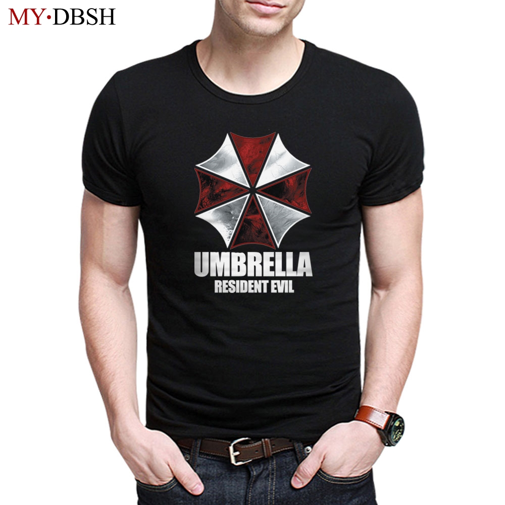 Summer Breathable Wicking Cool Cotton Mens T Shirts Resident Evil Umbrella Corporation Printed T-shirt Man Short-sleeved Tees
