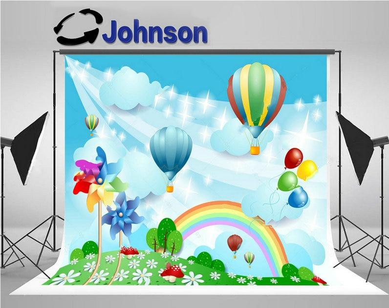 Balloons Rainbow Pinwheels sparkly clouds flower tree grass backdrop Vinyl cloth Computer print children kids background