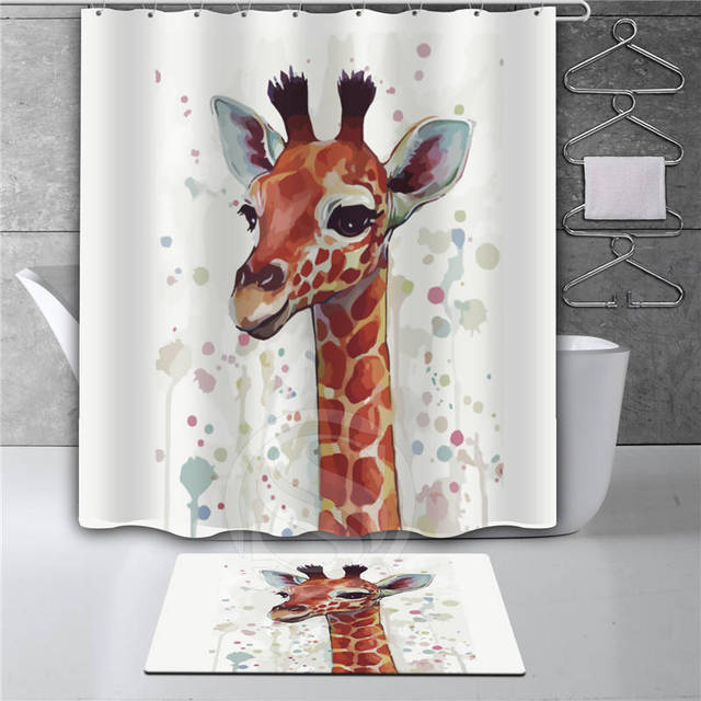 Superieur Y30# Watercolor Giraffe Bathroom Waterproof Shower Curtain + Watercolor  Giraffe Doormat Mat Bath Mats Foot
