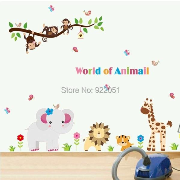 Ay9052 frete grátis bonito girafa macaco da árvore da coruja arte decalques / adesivos de parede Mural para crianças Nursery decoração