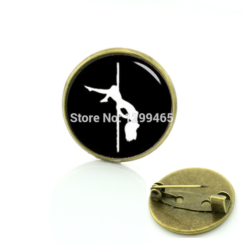 Keepsake sex girls silhouette picture metal pins elegant and charming stripper brooches pole dance badge C 1041 ...