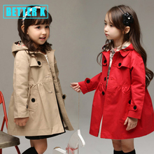 autumn spring baby girls jackets and coats British style jacket for girls clothes a hat removable girl coat 2-8 year old