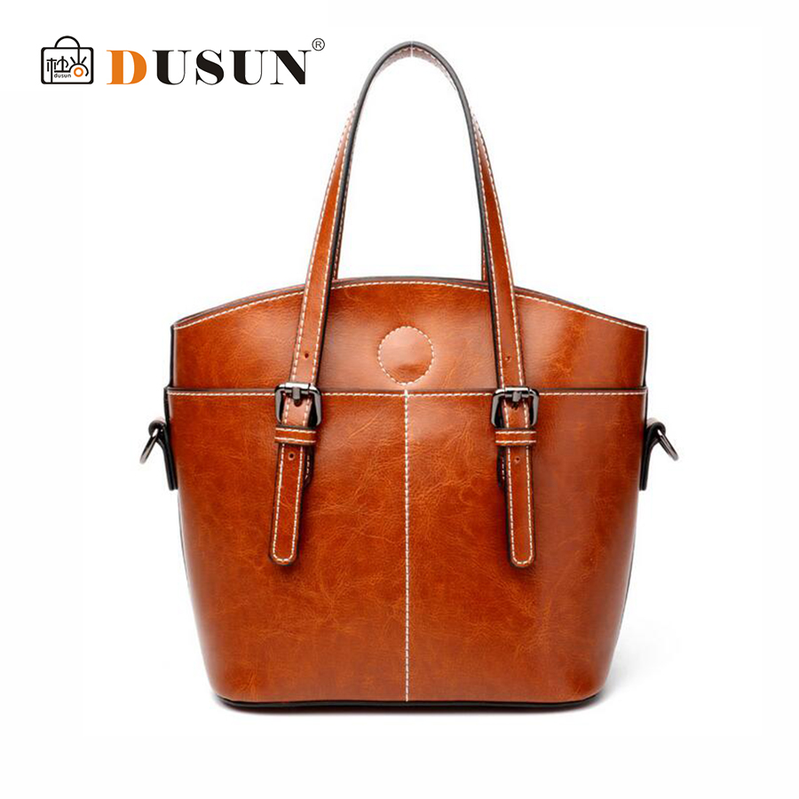 DUSUN New Women Genuine Leather Tote Fashion Handbag Cow Leather Simple Shoulder Bags Female High Capacity Retro Messenger Bag цена и фото