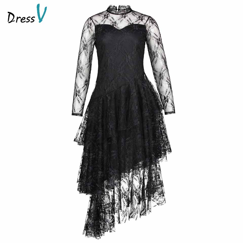Dressv black evening dress cheap high neck lace long sleeves a line tea length wedding party formal dress evening dresses