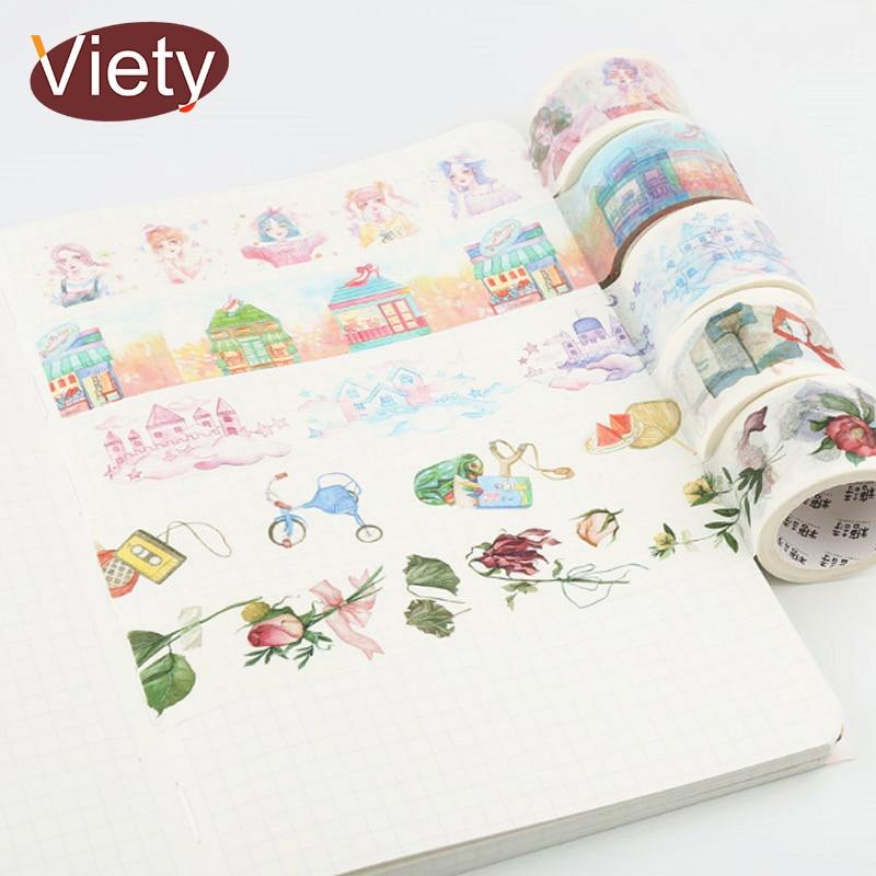 2-3cm*5m Beautiful Flowers Garnish Washi Tape DIY Decoration Scrapbooking Planner Masking Tape Adhesive Tape Label Sticker 1-12