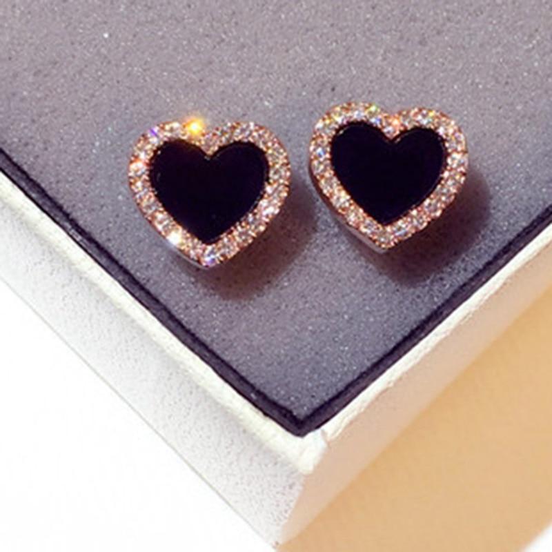Jewelry Stud-Earrings Zircon Crystal Heart Rose-Gold-Color Black Delicate Cute Love CZ