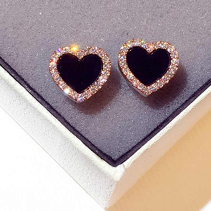 Delicate Cute Black Acrylic CZ Zircon Crystal Heart Stud Earrings Rose Gold Color Romatic Love Stud Earrings Women Jewelry