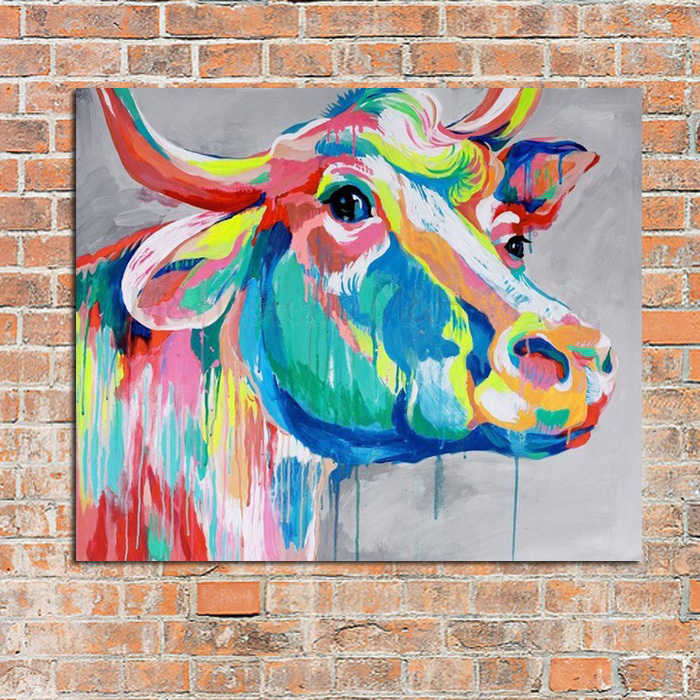 modern abstract art 100 handpainted oil painting cow. Black Bedroom Furniture Sets. Home Design Ideas