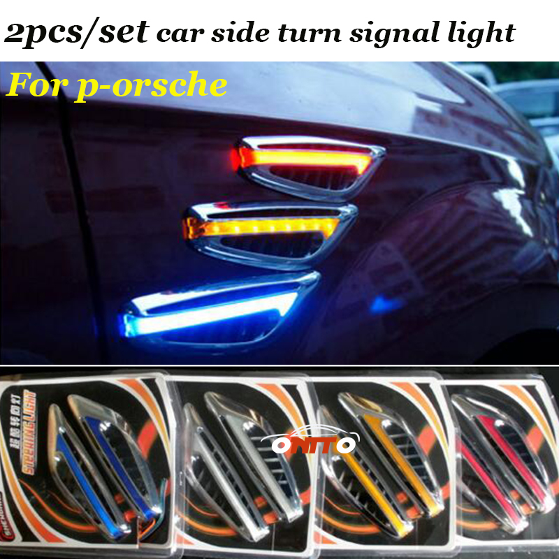 2pcs/set For 911 Cayman Cayenne Panamera Macan Car Turn Signal Lights Auto side light Knife Blade Plate LED lamps window closer for porsche cayenne panamera macan auto power car window roll up rearview mirror and remote open trunk