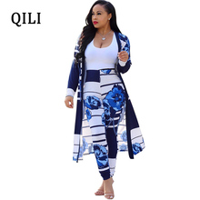 QILI New 2019 Autumn Long Shirt Jumpsuits Womens Two Piece Set Floral Printed Pants Elegant Jumpsuit Office Casual Wear