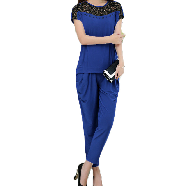 Waeolsa Summer Woman Casual Tracksuit Lace Patchwork Design Twinset