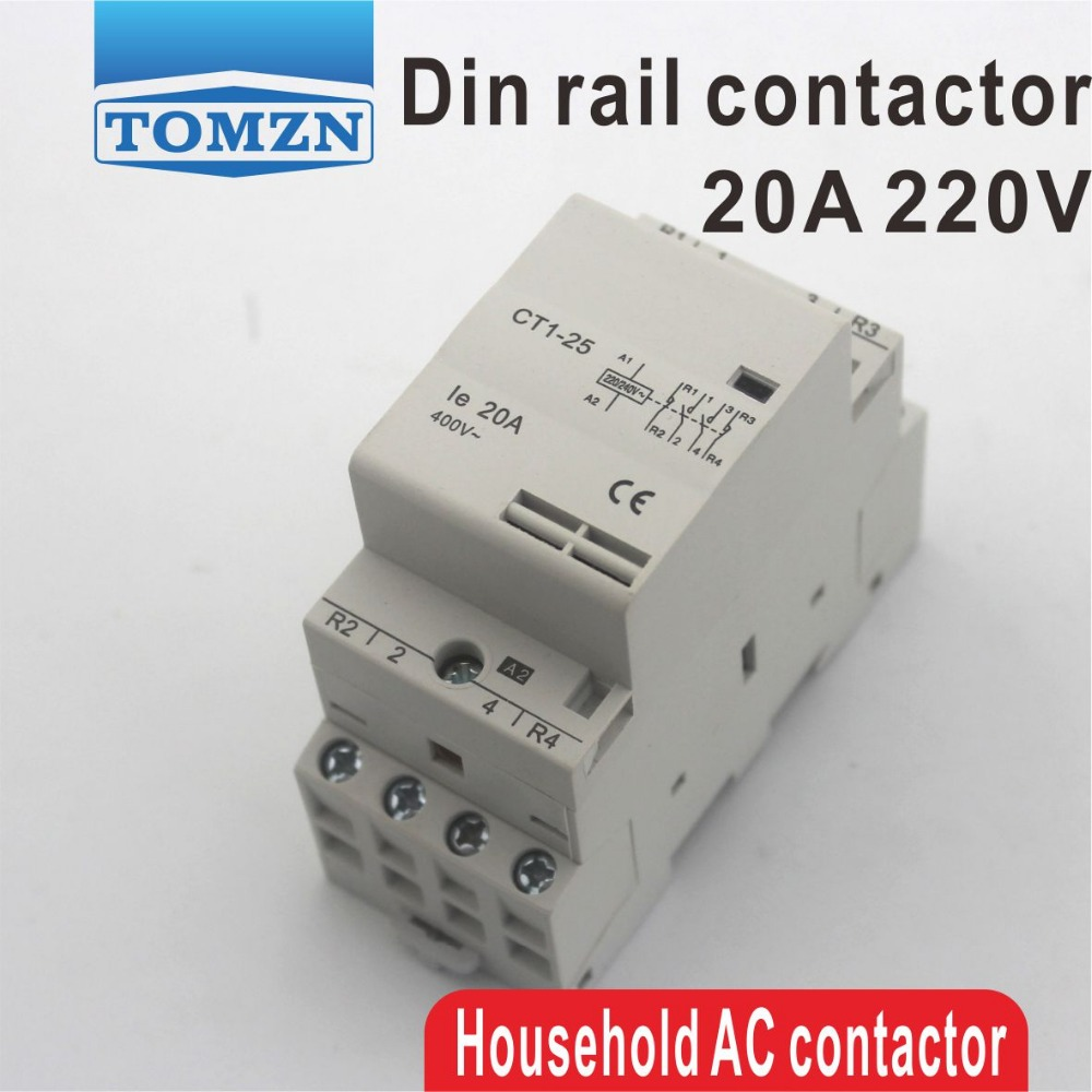 CT1 4P 20A 2NC 2NO 220V/230V 50/60HZ Din rail Household ac Modular contactor