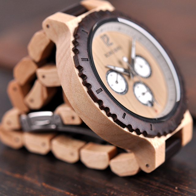 BOBO BIRD Wooden Handmade Men Quartz Watch with Stop Watch