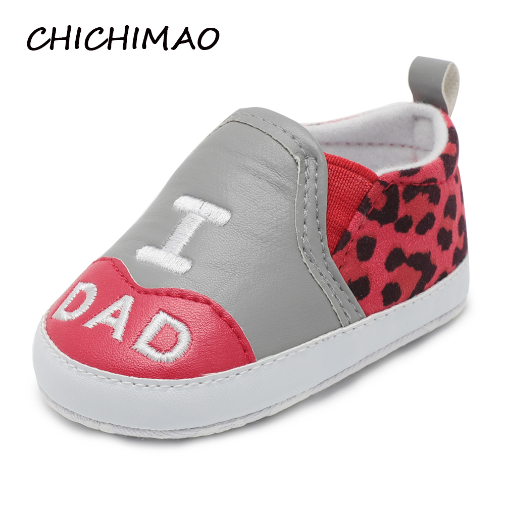 CHICHIMAO COZY New Born Baby Girl Shoes LOVE MOM DAD PU Leopard Print Elastic Band Shoe Girl Boy First Walkers 0-18 Months