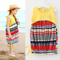 Summer Mother Daughter Dresses Kids Striped Dresses Children Summer Dress Long Sleeve Splicing Baby Girl Dress