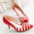 CDTS stripe Sandals Sexy pointed toe high-heeled small yards shoes 30 31 32 33 single shoes women pumps plus size:44 45 46 47