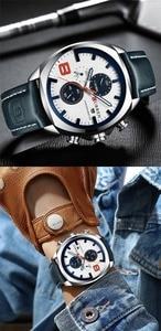 Image 3 - CURREN reloj deportivo para hombre, resistente al agua, con cronógrafo, militar, de cuero, 8324