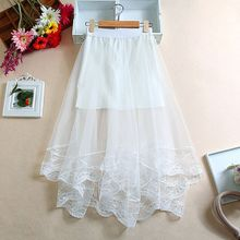 Women High Waist Scalloped Lace Trim Midi Long Skirt Lined Solid Color Irregular Hem Pleated Double Layer Sheer Mesh Party цена 2017