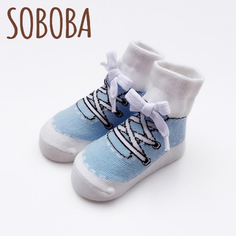 Soboba Infant Boys Socks for Newborn 0-24 Months Preppy Style Kids Sport Socks Cotton Gift for Children Baby Socks