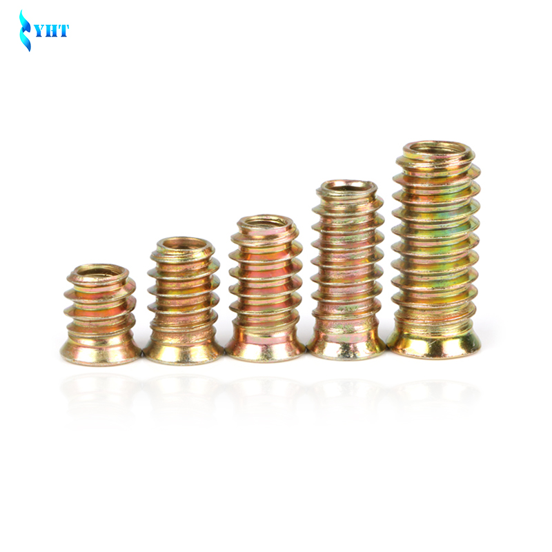 M6X20mm 15pcs Luchang M6 M8 M10 Inside Carbon Steel Hex Socket Insert Nut Threaded Outside Teeth Embedded Hex Nut for Wood Furniture