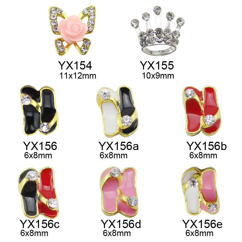 10pcs Resin Nails Flower Gold Butterfly Glitter Crystal Rhinestone