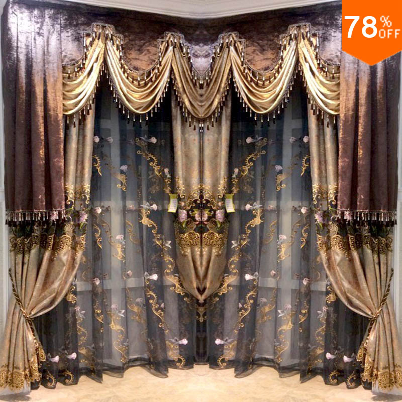 Best quality new 2017 hotel coffee color luxury black out New curtain design 2017
