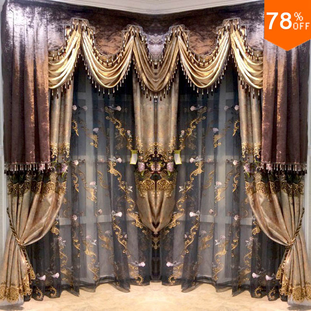 best quality new 2018 Hotel Coffee color luxury Black out curtains ...