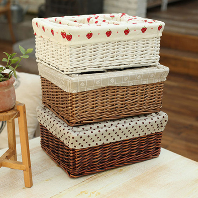 Decorative Rattan Wicker Baskets Large Middle Small White And Brown Wicker  Baskets For Laundry Food Clothing