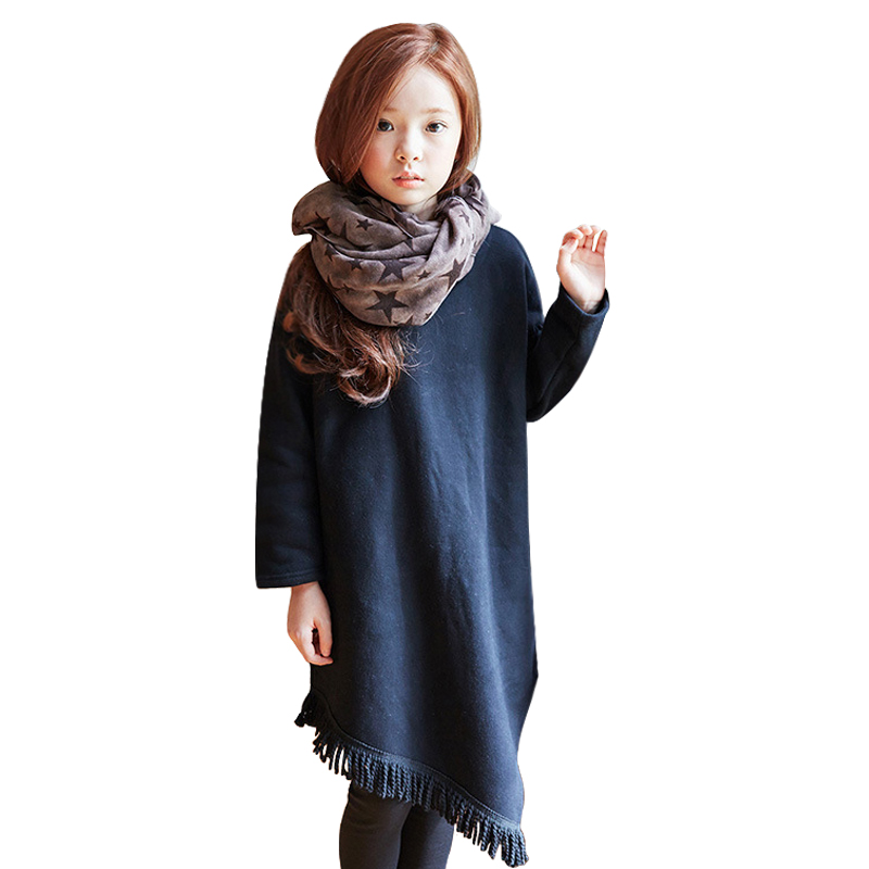 Autumn winter Girls Dress Graceful All Match Long-sleeve Warm Dress with Tassel for 3-16 Years Unique Princess Baby Girl Clothes цена 2017