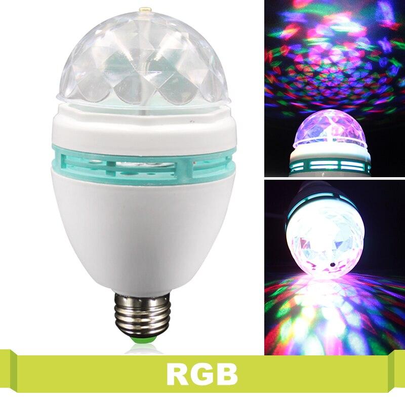110V 220V E27 RGB LED Lamp 3W DJ Disco Club Party Colorful Magic Bulbs AC 85-265V Auto Rotating Stage Light Holiday Lighting