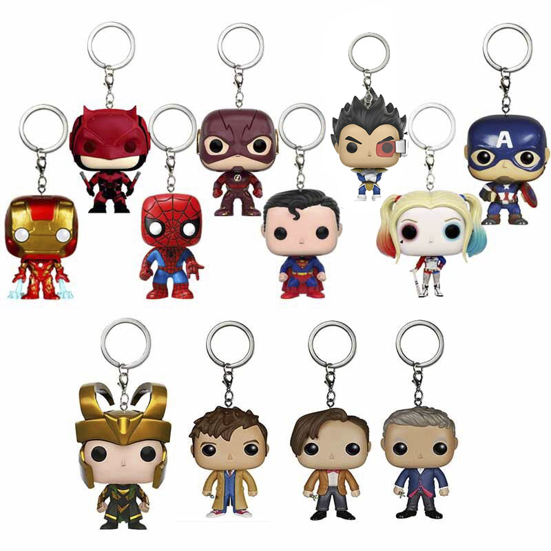 Kids Dragon Ball Superman Spiderman Thor Black Panther Doctor Who Stranger Thing Action Figure Gift Toy Keychain Boy Model Toys