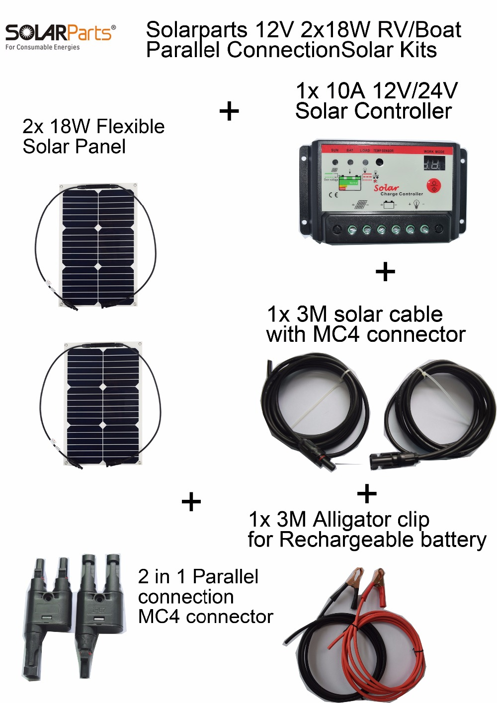 BOGUANG 12V 2x18W DIY RV Boat Kits Solar System 18W flexible solar panel 1x 10A solar controller 1 set 3M MC4 cable 1 set clip sp 36 120w 12v semi flexible monocrystalline solar panel waterproof high conversion efficiency for rv boat car 1 5m cable