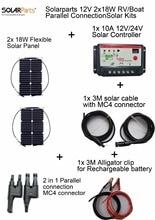 Solarparts 12V 2x18W DIY RVBoat Kits Solar System 18W flexible solar panel1x 10A solar controller 1 set 3M MC4 cable 1 set clip