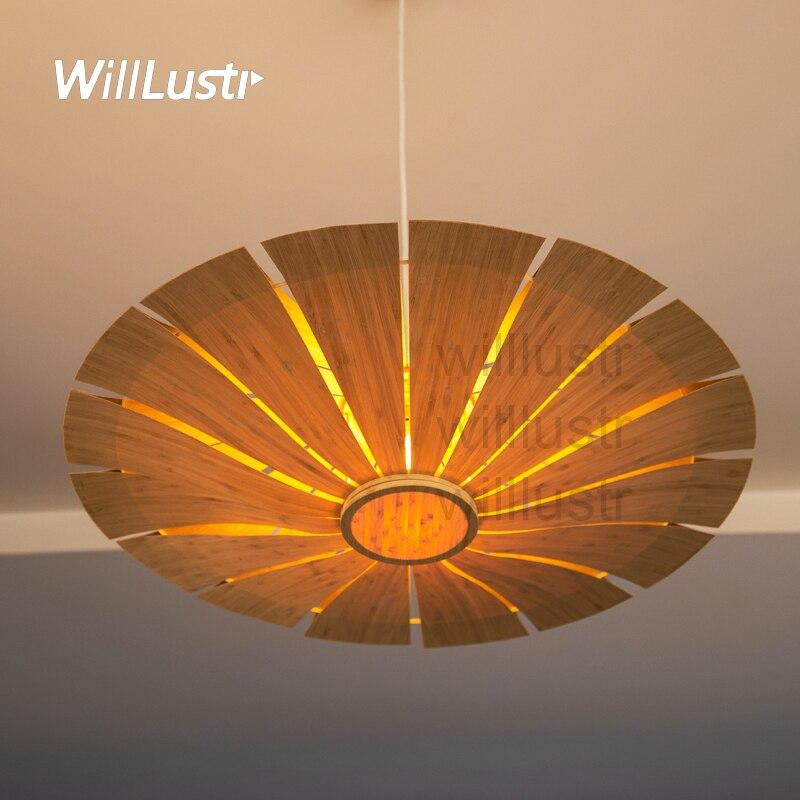 willlustr bamboo pendant light wood suspension lamp UFO <font><b>umbrella</b></font> lighting natural hanging lights hotel restaurant nordic