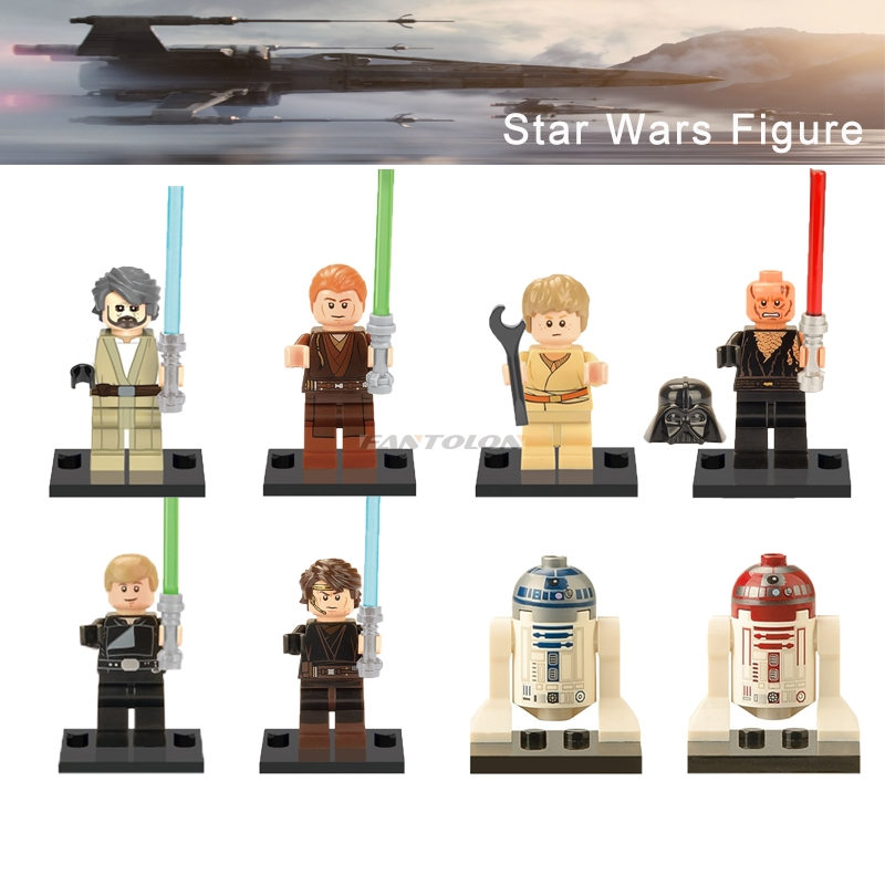 Legoelys Star Wars Figure R2D2 Old Luke Child Anakin Skywalker Jedi Knight Sith Warrior R4P17 Starwars Building Blocks Toys