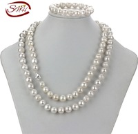 SNH 10 5 11 5mm White 925silver 40inches Natural Freshwater Bridal Girls Jewelry Sets Natural Pearl