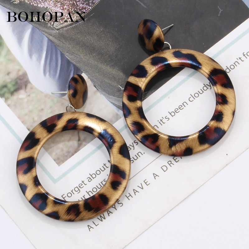 2019 New Vintage Drop Earrings For Women Leopard Print Design Large Round Dangle Acrylic Earrings Fashion Jewelry pendientes