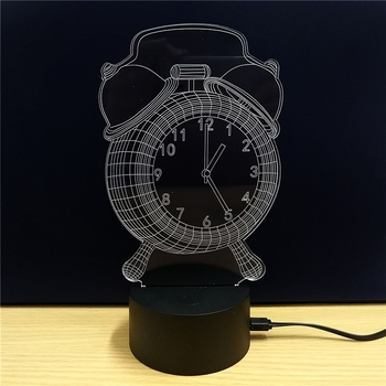 3D Night Light LED Lamp Acrylic Alarm Clock Showpiece 5