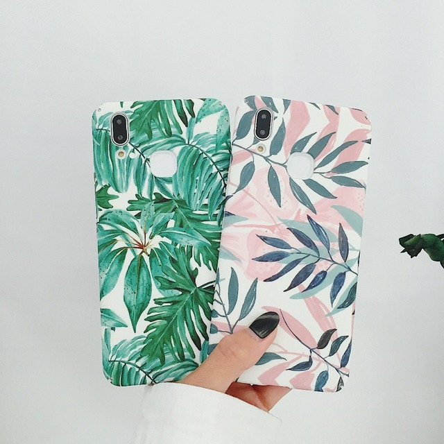Phone Case For OPPO R15 R9 R9S R11 R11S Plus A83 A79 A77 A73 A59 A57 Fresh Leaves Pattern Hard PC Phone Case Cover Fundas Coques