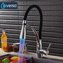 EVERSO Pull Out Kitchen Faucet Black Chrome Finish Dual Sprayer Nozzle Water Mixer Bathroom Faucet Torneira Cozinha цена в Москве и Питере