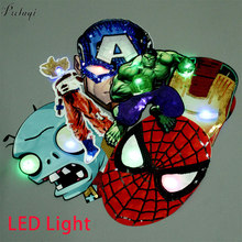 Pulaqi Cartoon Spiderman Pailletten Patch LED Licht DIY Gestickte Patches Auf Kleidung Nähen Auf Patches Für Kinder Kleidung Applique(China)
