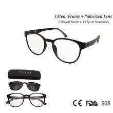 Vintage Round Glasses Frame with Magnet Clip on Sunglasses Polarized Lens Women's Glasses Clear Glass Ultem accept Rx Lens